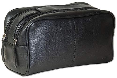 Rimbaldi® - Neceser con 2 compartimentos grandes con cremallera de piel de napa de vacuno suave en color negro