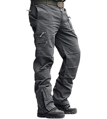 MAGCOMSEN Herren Hose Cargo Chino Wanderhose Combat Outdoor Hose Herbst Männer Trekkinghose mit Vielen Eingrifftaschen Radhose Arbeitshose Freizeithose für Angeln Reisen Grau XL