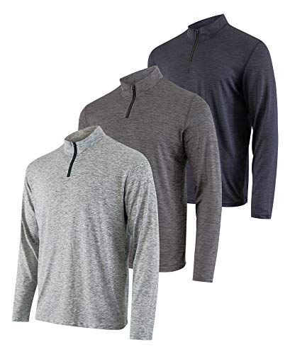 Mens Quarter 1/4 Zip Pullover Long Sleeve Athletic Quick Dry Dri Fit Shirt Gym Running Performance Golf Half Zip Top Thermal Workout Sweatshirts Sweater Jacket - 3 Pack-Set 2,XL