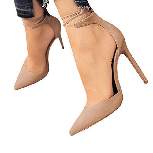 Minetom Damen Stiletto High Heels Pumps Spitz Party Basic Schuhe Geschlossen Schnürsenkel Wildleder Sandalen Abendschuhe A Aprikose 38 EU