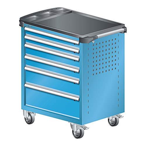LISTA Art.Nr. 81.066.010 Werkstattwagen mit Kunststoffabdeckung 36x27E (BxTxH) 894x525x928mm 6 Schubladen Lichtblau RAL 5012