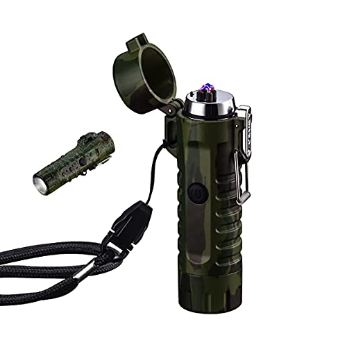 防水防風ライター、LED懐中電灯付きキャンプライタープラズマライター、充電式USBライターフレームレス電気ライター屋外(カモフラージュ)