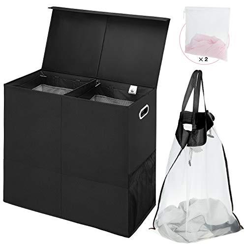 Greenstell Wäschekorb mit abnehmbaren Wäschesäcken, Faltbarer Wäschekorb mit Deckel und Griffen für einfache Bewegung, Wäschekorb mit Doppelgitter für Schlafzimmer, Waschküche, Balkone (schwarz)
