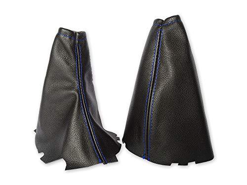 The Tuning-Shop Ltd Funda para freno de mano y marco compatible con Ford Focus de piel, varios colores disponibles (costuras azules)