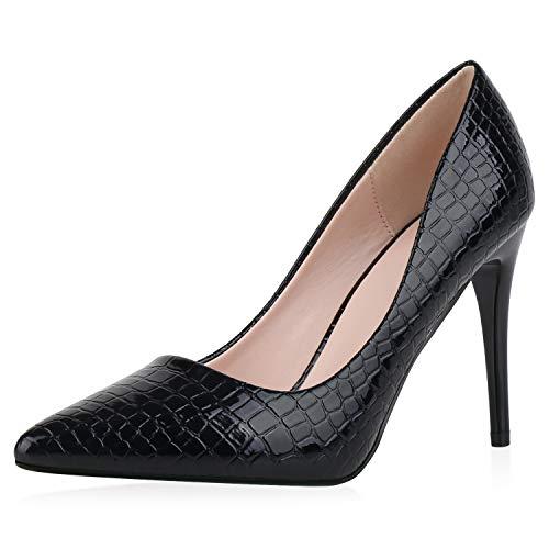 SCARPE VITA Damen Spitze Pumps Kroko-Optik Absatzschuhe Lack Party Schuhe Stiletto High Heels Trendy Abendschuhe 186276 Schwarz Kroko 38