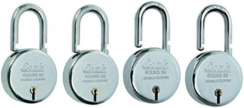 Link Round Steel Lever Bcp 65mm (Silver, Pack of 2) & Round Steel Lever Bcp 50mm (Silver, Pack of 2) Combo