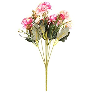 7 Forks Beautiful Handmade Wedding Decoration DIY Craft Fake Rose Peony Bridal Bouquet Artificial Flowers Silk Rhododendron(Rose red)