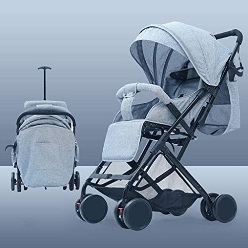 VIVOCC Cochecito de bebé para recién nacidos y niños pequeños – Cochecito reclinable plegable, portátil y antigolpes, con marco de aluminio, arnés de 5 puntos (color gris)