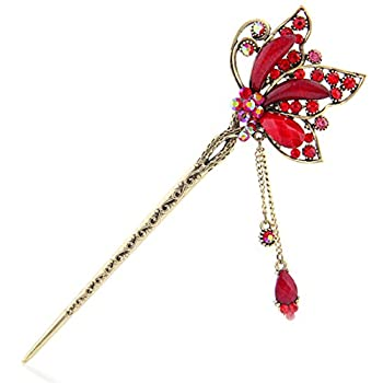 YOY Fashion Long Hair Decor Chinese Traditional Style Women Girls Hair Stick Hairpin Hair Making Accessory with Butterfly,Red
