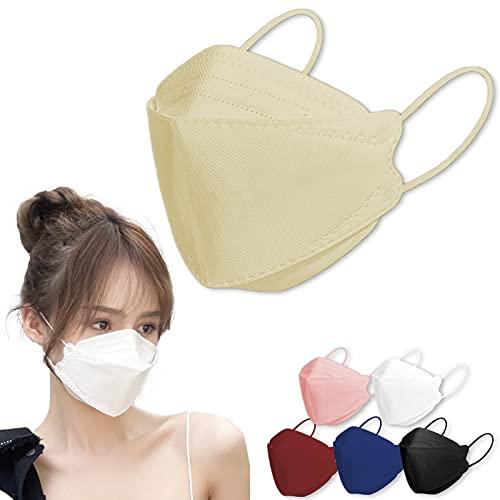 kf94マスク 同規格 正規品 個包装 3D立体 不織布 4層構造 使い捨て 小顔 メガネが曇りにくい 呼吸しやすい 口紅に付かない (ベージュ30枚)