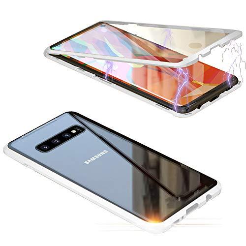 Jonwelsy Hülle für Samsung Galaxy S10 Plus, Magnetische Adsorption Metall Stoßstange Flip Cover mit 360 Grad Schutz Doppelte Seiten Transparent Gehärtetes Glas Handyhülle für Samsung S10+ (Silber)