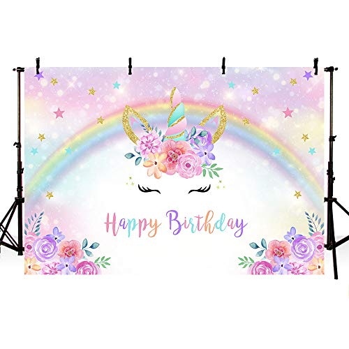 MEHOFOTO - Fondo de fotos de 7x5 pies, diseño de unicornio mágico arcoíris, fondo de fotos para fiesta de cumpleaños, flores rosas para niñas, fondo de fotos para cabina de fotos, fiesta