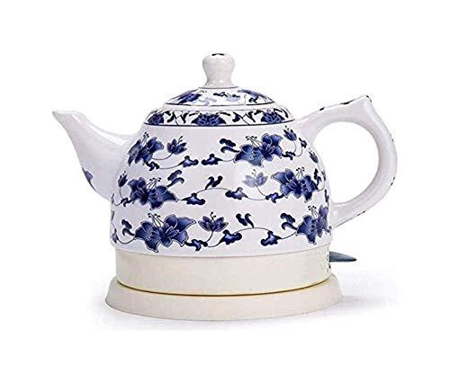 Hervidor Eléctrico en el Hogar y la Cocina Eléctrica de cerámica blanca 1l inalámbrico Caldera, 1350W Agua rápida for el té, café, sopa, harina de avena Base-extraíble, Protección seco Hervir, una caj