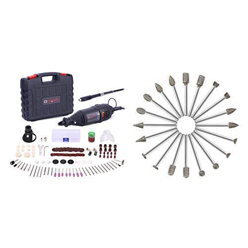 GOXAWEE Rotary Tool kit with 60 Grit 20Pcs Diamond Burr Set Bundle