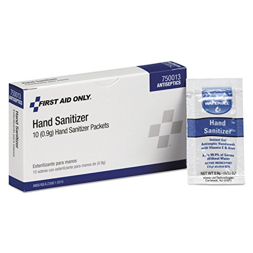First Aid Only 750013 Hand Sanitizer Packets, Clean Scent, 0.9 g, 10/Box