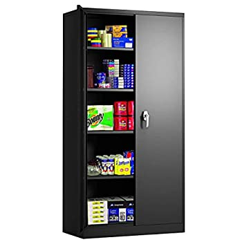 Tall Metal Storage Cabients with Doors Lockable 72  Steel Cabient with 4 Adjustable Shelves Great for Garage Kitchen Pantry Office Patio and Laundry Room Black
