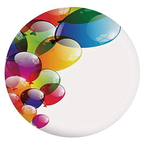 Mantel ajustable de poliéster con bordes elásticos, globos coloridos con reflejos y sorpresa, para ocasiones festivas, para mesas redondas de 56 a 60 pulgadas, protección para tu mesa, multicolor