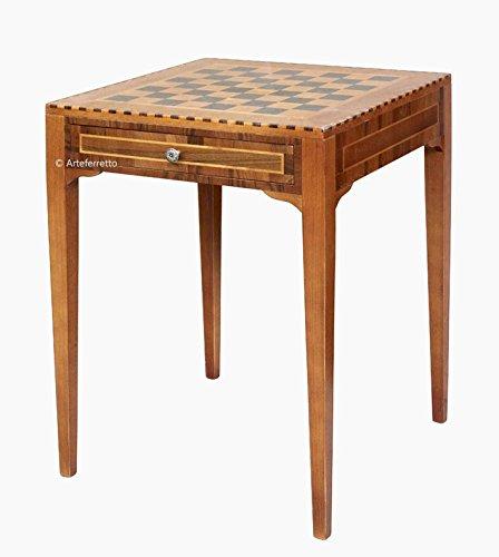 Arteferretto Table échiquier marqueté essences de Bois, Table pour Jouer aux échecs, Style Classique, marqueterie, Meuble livré monté
