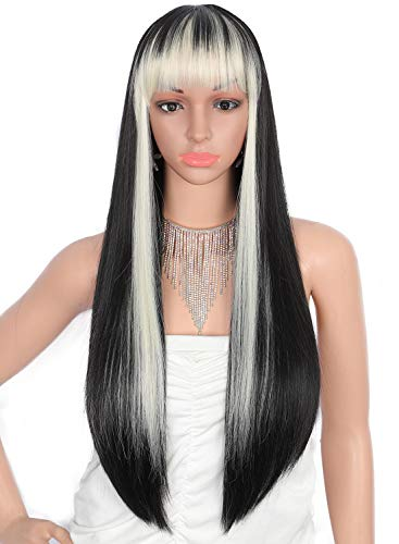 Kalyss 28 inches Women's Silky Long Straight Black with Blonde Strips Wig Heat Resistant Synthetic Wig With Bangs Hair Wig for Women