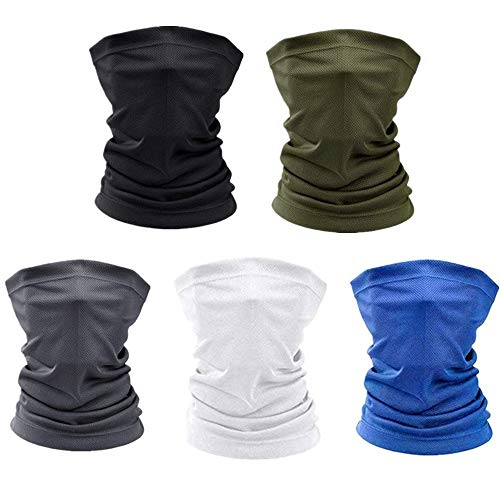 5 Pieces Sun UV Protection Neck Gaiter Face Mask Cover Scarf Dust Wind Bandana Balaclava Headwear for Riding Cycling Motorcycle and Other Outdoor Activities