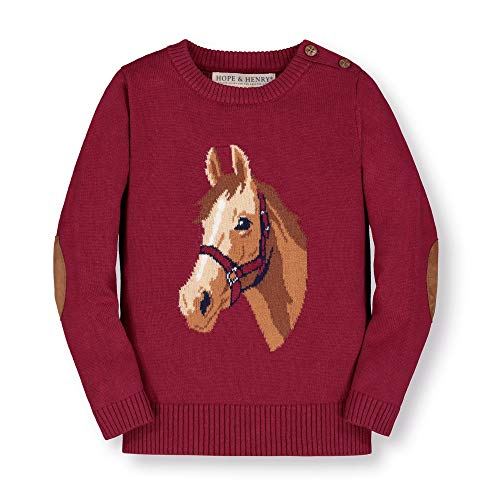Hope & Henry Girls' Long Sleeve Intarsia Horse Sweater with Elbow Patches