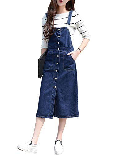 Denim Overall Dress Midi