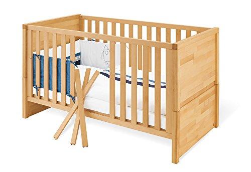 Pinolino Kinderbett Fagus, stabiles, natürliches Babybett (140 x 70 cm) mit 3 Schlupfsprossen, aus vollmassiver Buche, geölt, Umbauseiten enthalten (Art.-Nr. 11 21 57)
