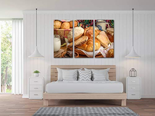 blaverr 3 Panel Wall Art Modern Artworks for Home Decor Canvas Prints Mexican Sweet Bread Yummy Traditional Food Stock Pictures Royalty Pictures for Living Room Bedroom Decoration, Ready to Hang
