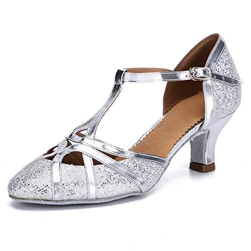 HROYL Zapatos de Baile para Mujer Brillo de Cuero Latino/Chacha/Samba/Moderno/Zapatos de Baile de Jazz Plateado 37 EU