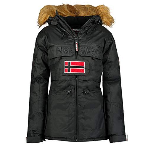Geographical Norway BELLACIAO Lady - Parka caldo da donna, con cappuccio in finta pelliccia, giacca da vento...