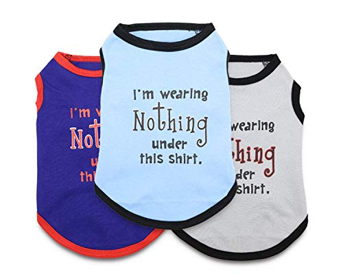 MeowWow Puppy Clothes XS Dog Tshirts Boy Dog Clothes Funny Shirt Puppy Clothes for Small Dogs, XS, Pack of 3