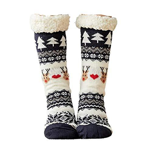 Calcetines antideslizantes para mujer, vellón de Coral, cálido, mullido, de punto, casa, antideslizante, pantuflas, medias para mujer, niñas, invierno, Navidad, calcetines