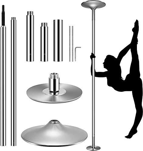 17 Pole Dance Tanzstange Tabledance Strip Stange Edehlstahl mit Static,Spinning-Funktion mit Socken