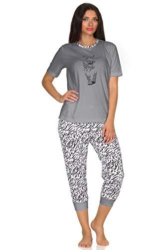Capri Pyjama Kurzarm Schlafanzug, Caprihose mit Bündchen, Tigermotiv, auch in Übergrössen, Farbe:grau, Größe:48/50
