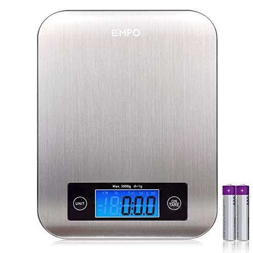 EMPO Professionelle Digitale Küchenwaage Lebensmittel-Waage mit Edelstahlplatte - LEBENSLANGE GARATNIE - Elektronische Waage - Batterien mit inbegriffen