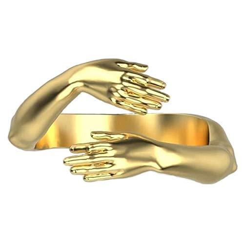 Moda 925 Plata Amor Abrazo Anillo Banda Dedo abierto Joyería totalmente ajustable, para hombres Mujeres Anillos de fiesta Anillo abierto Regalo (Gold)