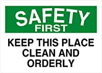 Hypothesis 30x20cm 警告ポスター ブリキ 看板 Keep This Place Clean And Orderly Safety First OSHA/ANSI がいる壁の装飾用のティンサイン