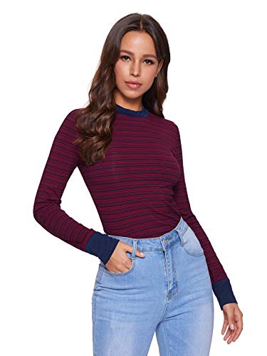 SheIn Women's Striped Mock Neck Long Sleeve Tee Shirt Turtleneck Slim Fit T-Shirt Top Red Small