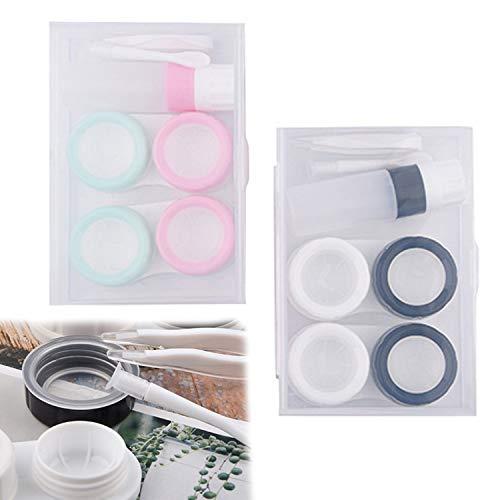[2 Kartons] zwei Paar Kontaktlinsenbehälter   Farbkontaktlinsenbehälter   Glasbehälter mit Kontaktlinsenpinzette   tragbare Kontaktlinsenbehälter, geeignet für Geschäftsreisen und Tagesausflüge
