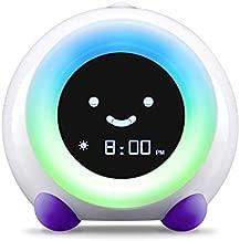 LittleHippo Mella Ready to Rise Children's Sleep Trainer, Alarm Clock, Night Light and Sleep Sounds Machine (Bright Purple)