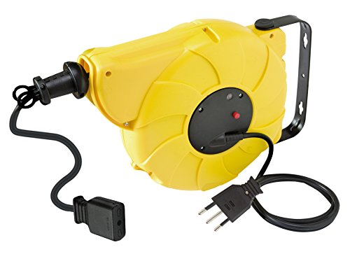 Brennenstuhl Automatic-Box, Enrollacables eléctrico automático a Pared (10MT–Tambor de plástico Amarillo, Cable...