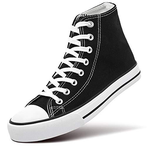 ZGR Womens Fashion Canvas Sneaker Low Cut Lace ups Casual Shoes (8 B(M) US, High-Top Black)