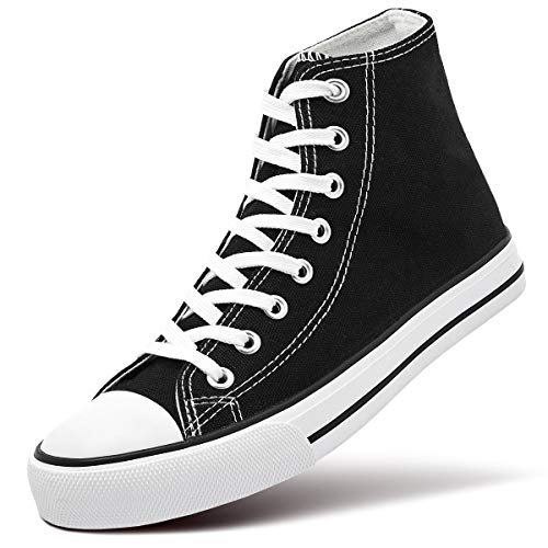 ZGR Womens Fashion Canvas Sneaker Low Cut Lace ups Casual Shoes (11 B(M) US, High-Top Black)
