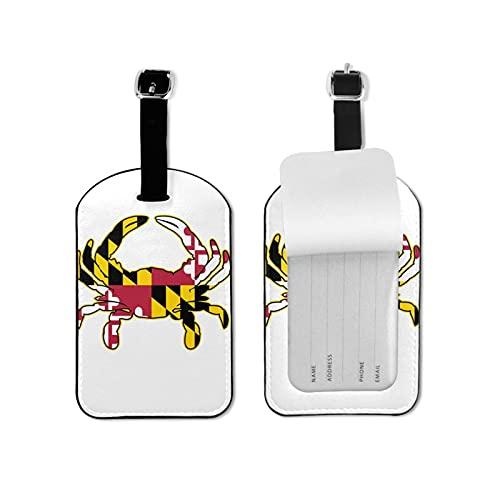 Maryland - Etiqueta para equipaje con bandera del Estado de Maryland, etiquetas para equipaje, etiquetas para equipaje, tarjeta de microfibra de piel sintética de 2.7 x 4.3 pulgadas