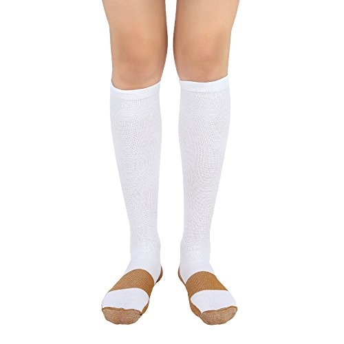 """MojaSports Graduated Compression Socks (1 Pair) Athletic Medical Use for Men Women (Copper/White, """"XX-Large"""")"""
