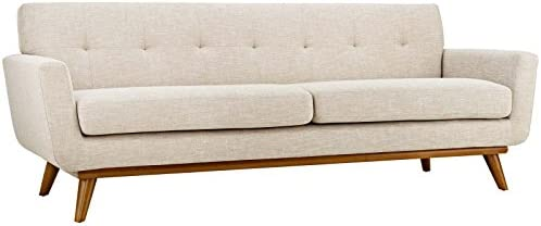 Best Modway Engage Mid-Century Modern Upholstered Fabric Sofa In Beige