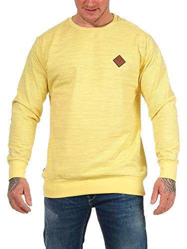 mazine Herren Sweatshirt Seaton Striped Sweater mit Rundhals-Ausschnitt Pullover Gelb L