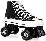 CRXL shop-Mantas Eléctricas Canvas High Skate Patines sobre Ruedas Street Roller Patines sobre Ruedas Cuatro Patines Redondos, Damas y Caballeros (Color : Black, Size : 39)