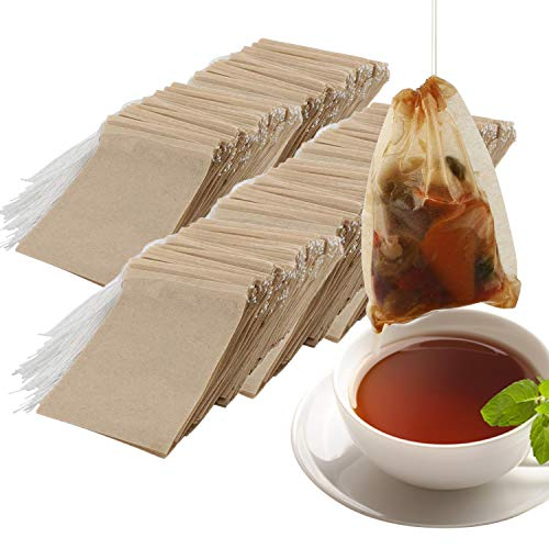 NEPAK 600 Pcs Disposable Tea Filter Bags with Drawstring Safe Strong Penetration Unbleached Paper for Loose Leaf Tea and Coffee(2.36 x 3.15 inch)