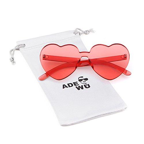 ADEWU Occhiali da sole senza montatura Occhiali da sole a forma di cuore per ragazze